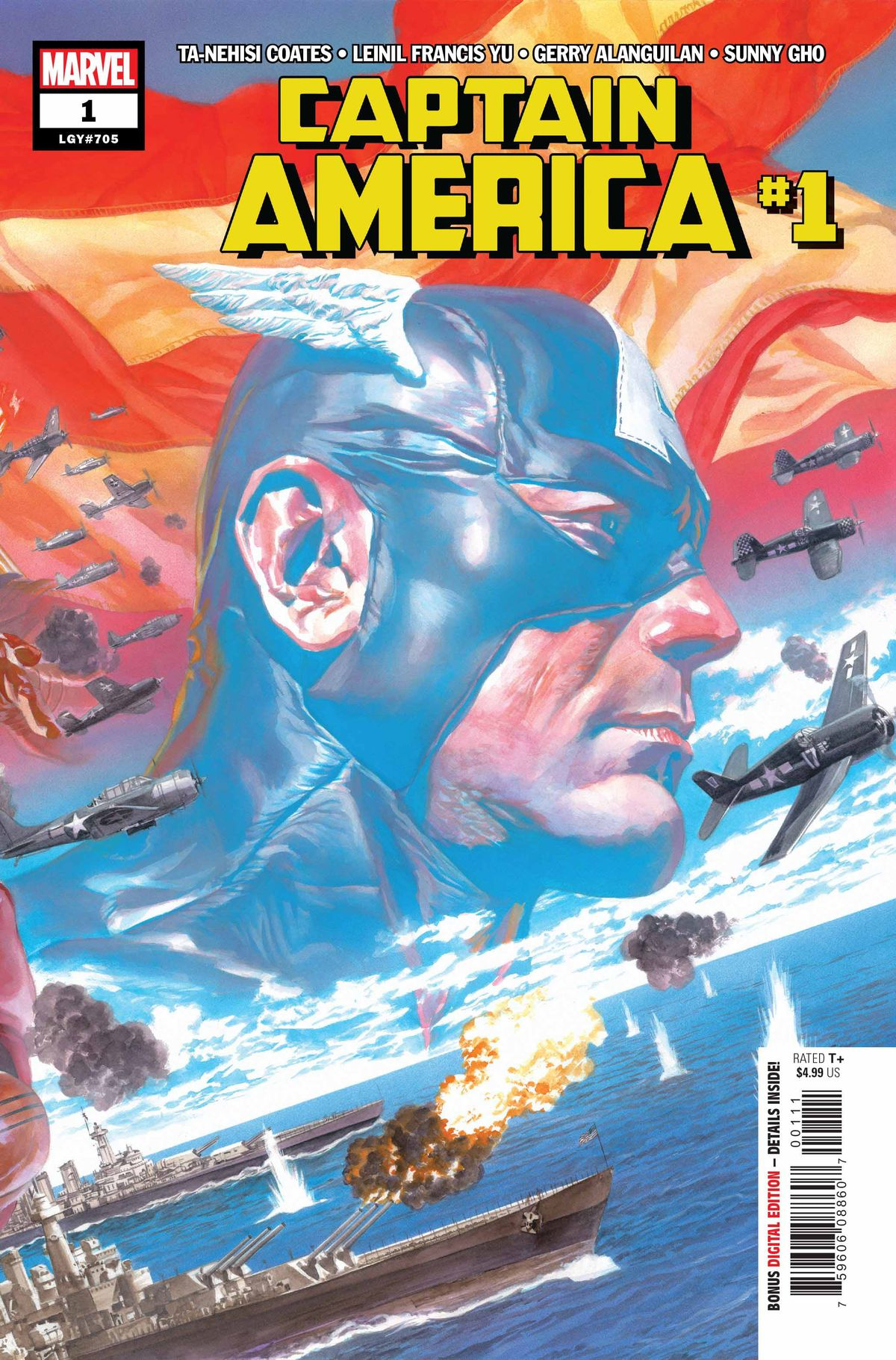 Battleships duel with fighter planes, an image of Captain America and the American flag superimposed, on the cover of Captain America #1, Marvel Comics (2018).