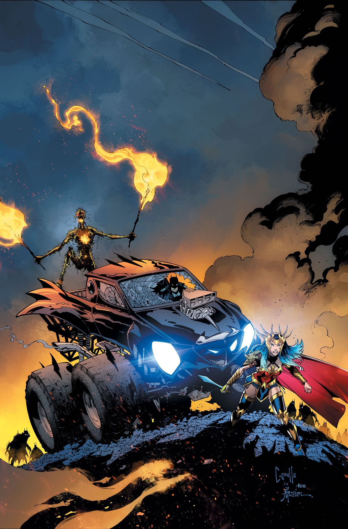 Wonder Woman crouches on a blasted hellscape in front of a batman-themed monster truck. Inside the truck's smashed windshield sits a stoic Batman. Atop the truck rides a withered Swamp Thing brandishing two lit torches, on the cover of Dark Nights: Death Metal #3, DC Comics (2020).