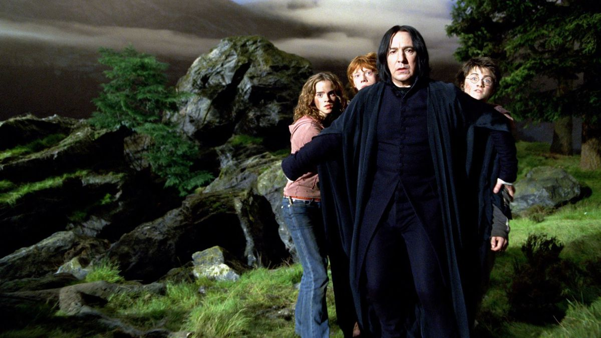 Harry Potter and the Prisoner of Azkaban - Snape shields Hermione, Ron and Harry