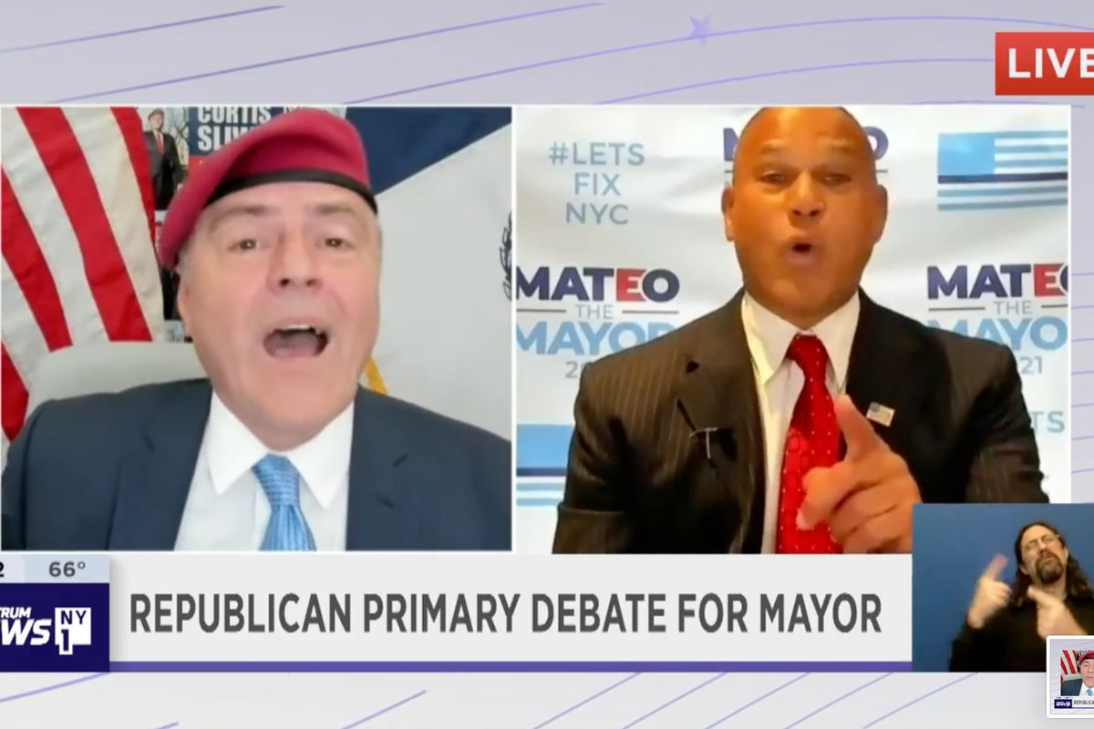 Republican mayoral candidates Curtis Sliwa and Fernando Mateo took part in a remote debate.