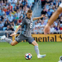 July 27, 2019 - Saint Paul, Minnesota, United States - Minnesota United midfielder Ján Greguš (8) passes the ball during the Minnesota United vs Vancouver Whitecaps match at Allianz Field.