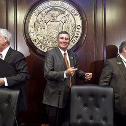 Rep. Scott Bedke, center, was named speaker last month.