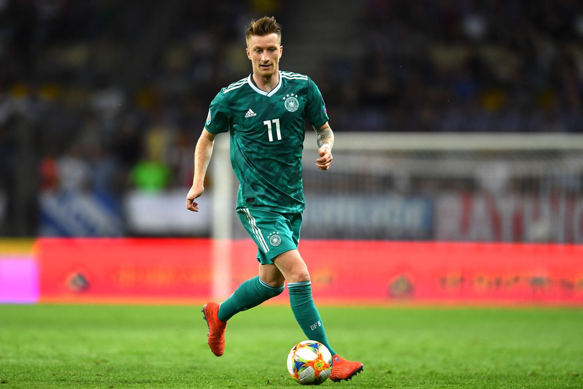 08 June 2019, Belarus, Borissow: Football: European Championship qualification, Belarus - Germany, Group stage, Group C, Matchday 3 in the Borisov Arena. Marco Reus of Germany in action. Photo: Marius Becker/dpa