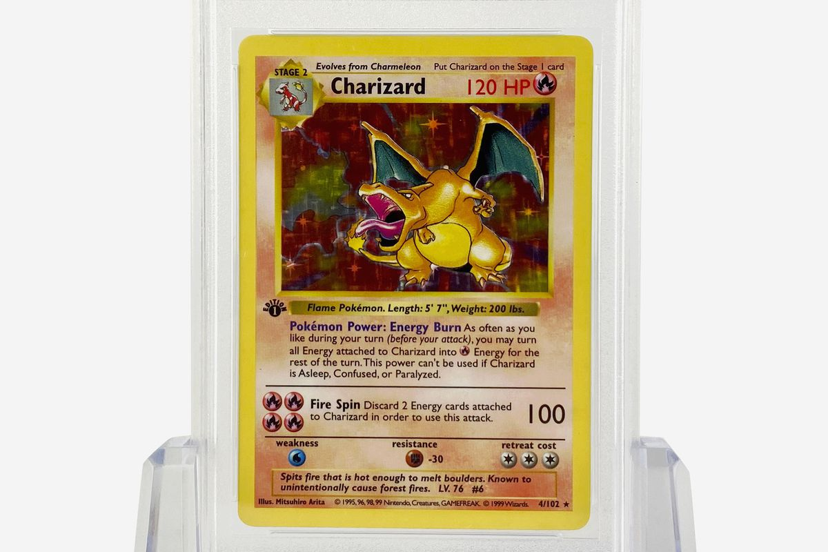 A Charizardd card in plastic.