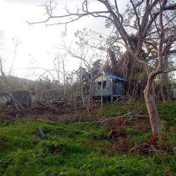 Debris is strewn the morning following a small storm in Vanuatu.
