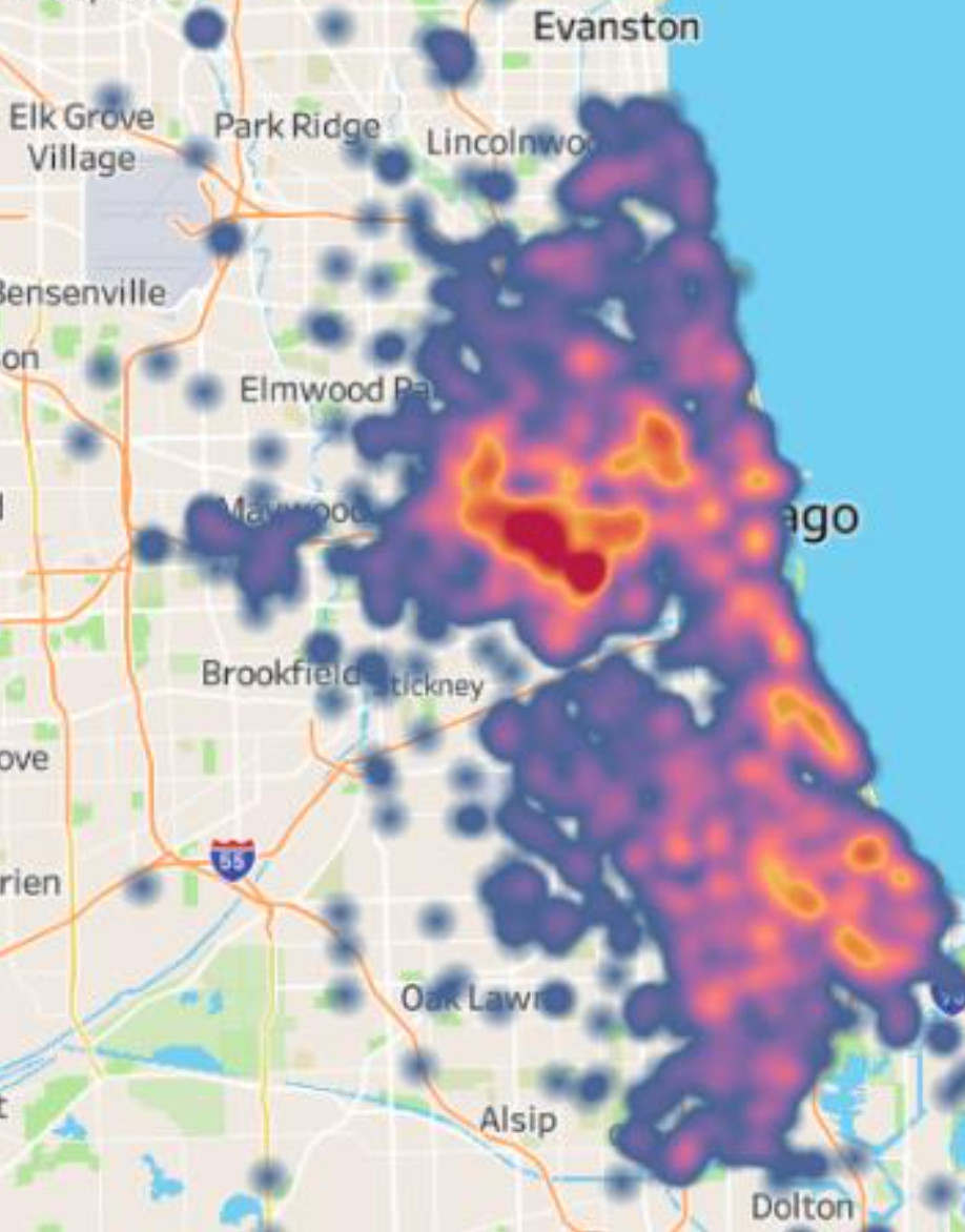 Chicago's West Side (in dark red) is the epicenter of carjackings in 2021 through Sept. 30.