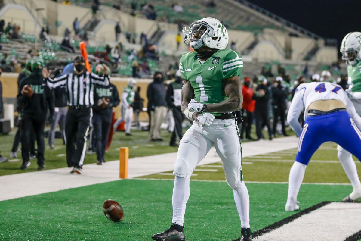 North Texas Mean Green wide receiver Jaelon Darden (1) catches a pass and runs in for a touchdown during the game between the North Texas Mean Green and the Louisiana Tech Bulldogs on Thursday 3, 2020 at Apogee Stadium in Denton, Texas.