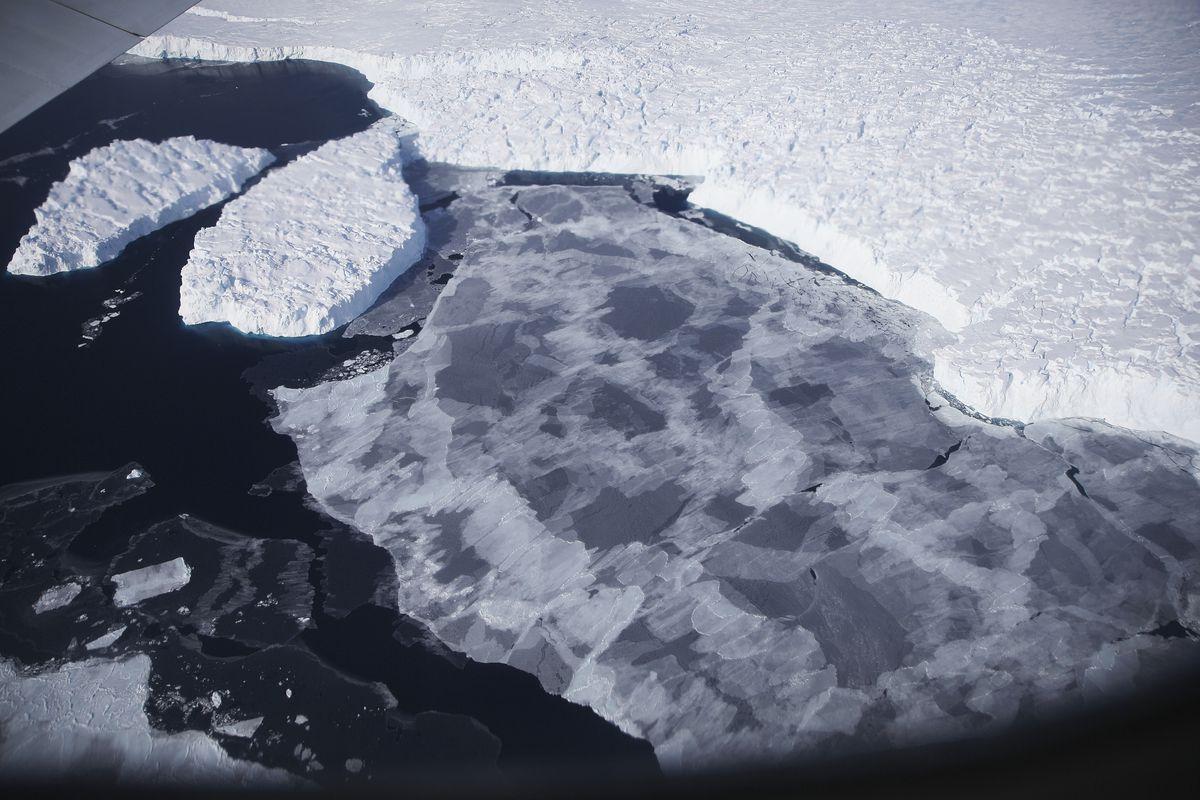 Ice floats near the coast of West Antarctica.
