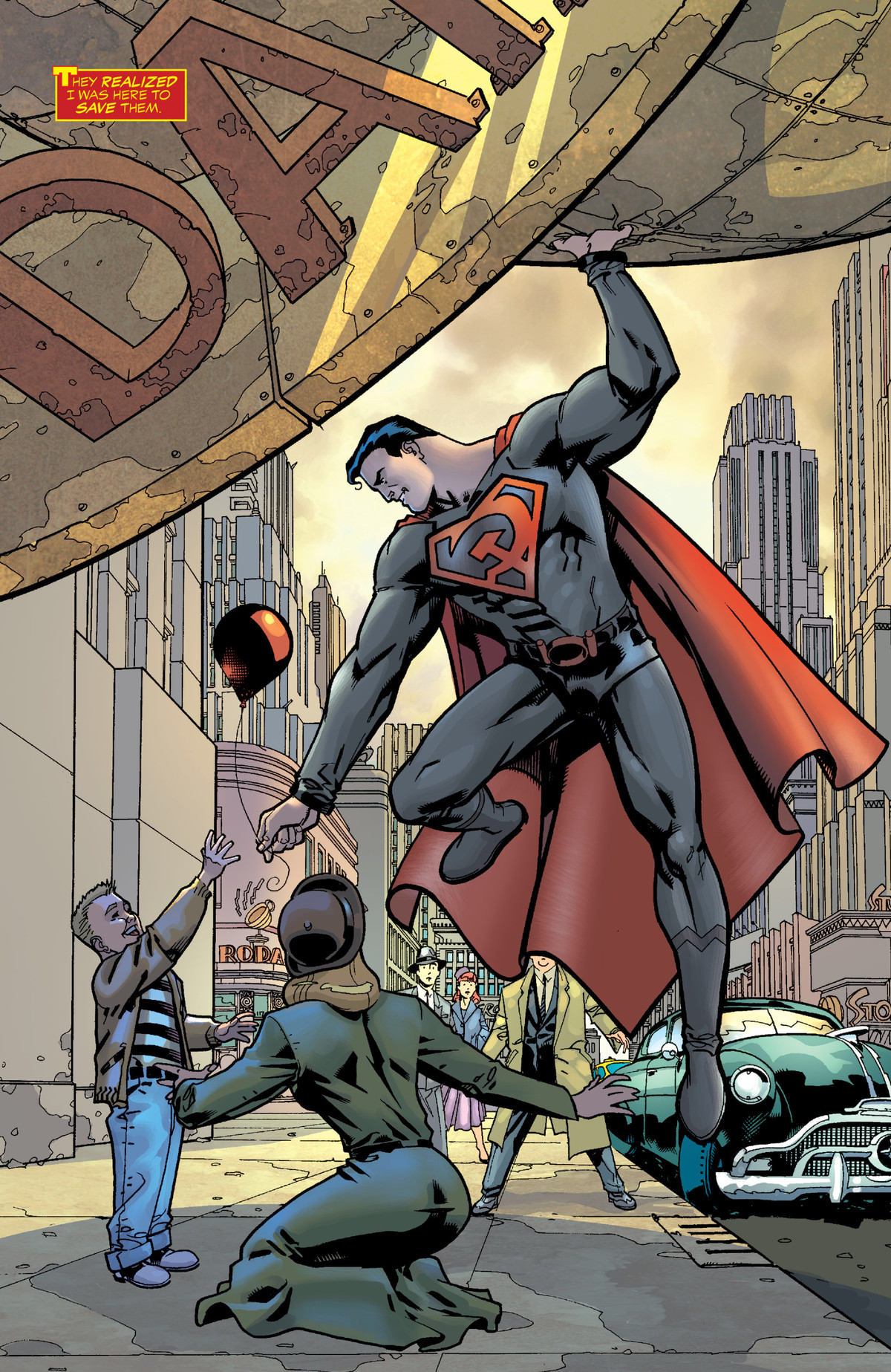 Superman, wearing the Soviet hammer and sickle instead of his S symbol, hands a balloon to a small boy, as the simultaneously saves him from the falling dome of the Daily Planet in Superman: Red Son, DC Comics (2003).