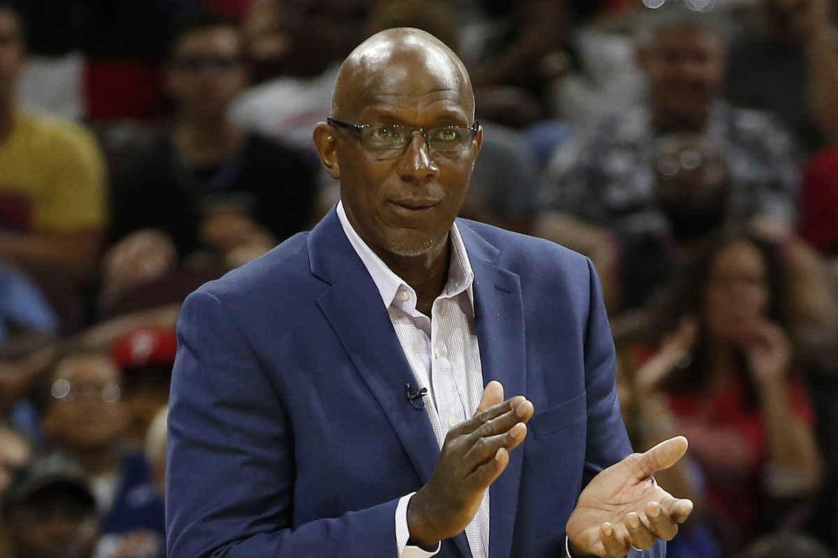 In this July 16, 2017, file photo, Big3 basketball team Power coach Clyde Drexler looks on during a game against the Ghost Ballers in Philadelphia. Hall of Fame basketball player Clyde Drexler is the new commissioner of the Big3 league.