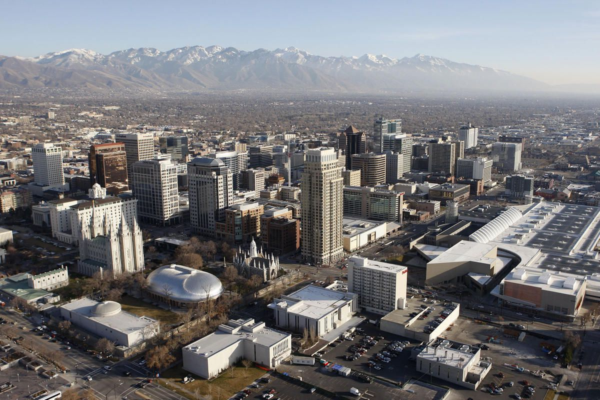 Aerial view of downtown Salt Lake City, Friday, Feb. 13, 2015.