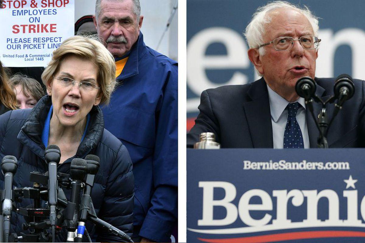 Sen. Elizabeth Warren (left) and Sen. Bernie Sanders.