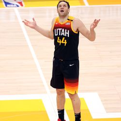 Utah Jazz forward Bojan Bogdanovic (44) questions a call as he looks up at a screen as the Utah Jazz and Memphis Grizzlies play Game 2 of their NBA playoffs first round series at Vivint Arena in Salt Lake City on Wednesday, May 26, 2021.