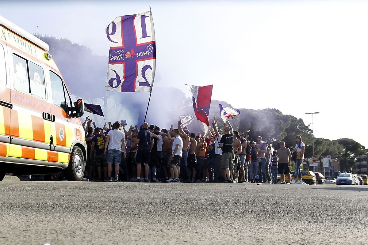 Curva Fiesole members protesting ticket prices outside the stadium at Empoli. Photo