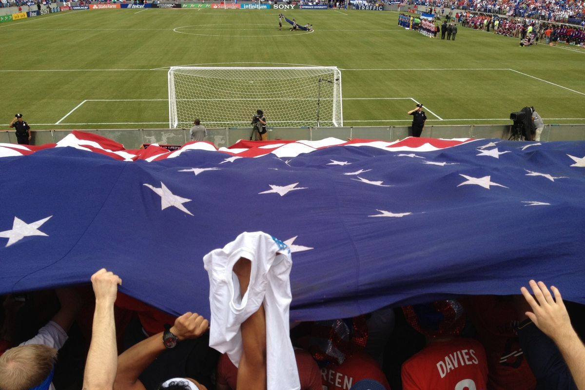 American Outlaws unfurling the American flag during the Gold Cup match in Baltimore, MD