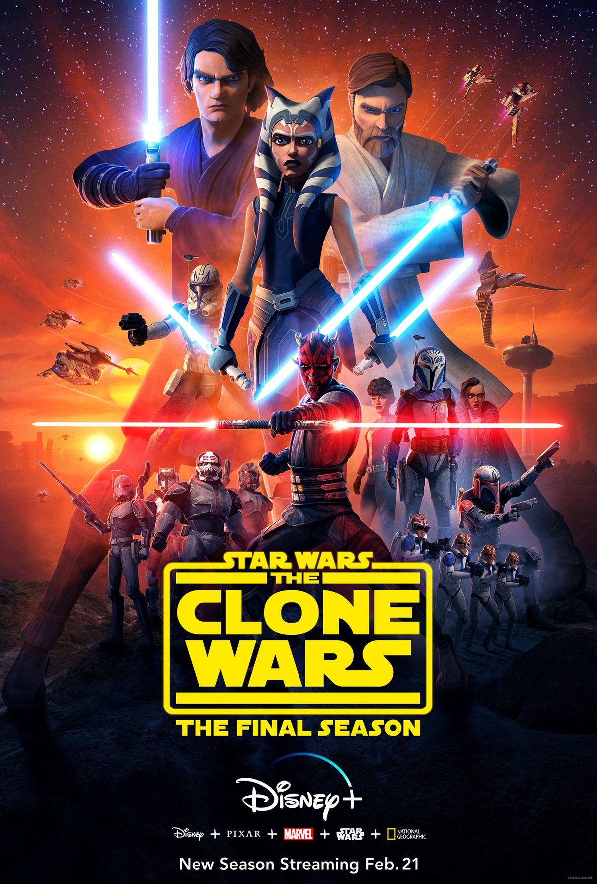 the poster for star wars: the clone wars, ahsoka front and center, obi-wan and anakin on either side