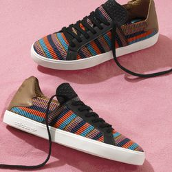 The Elastic Lace Up sneaker in multicolored stripes.