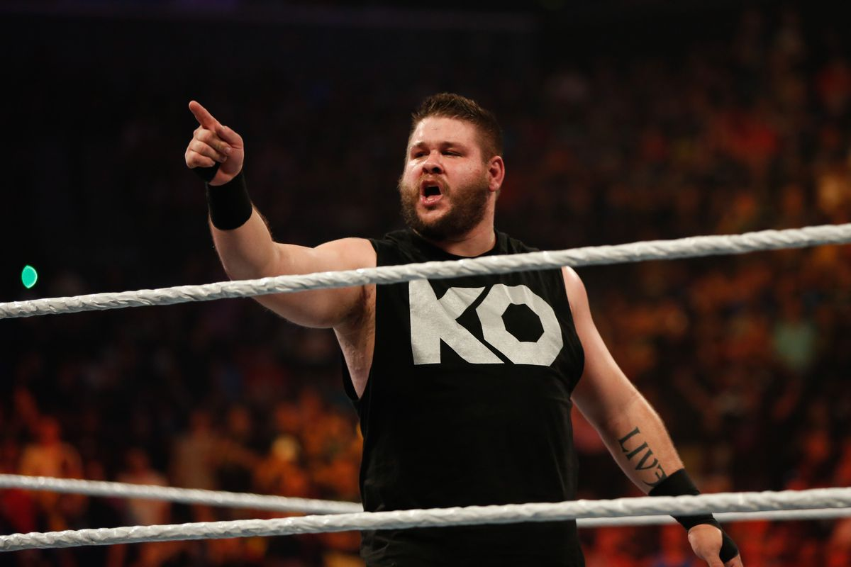 Kevin Owens celebrates his victory over Cesaro at the WWE SummerSlam 2015 at Barclays Center of Brooklyn