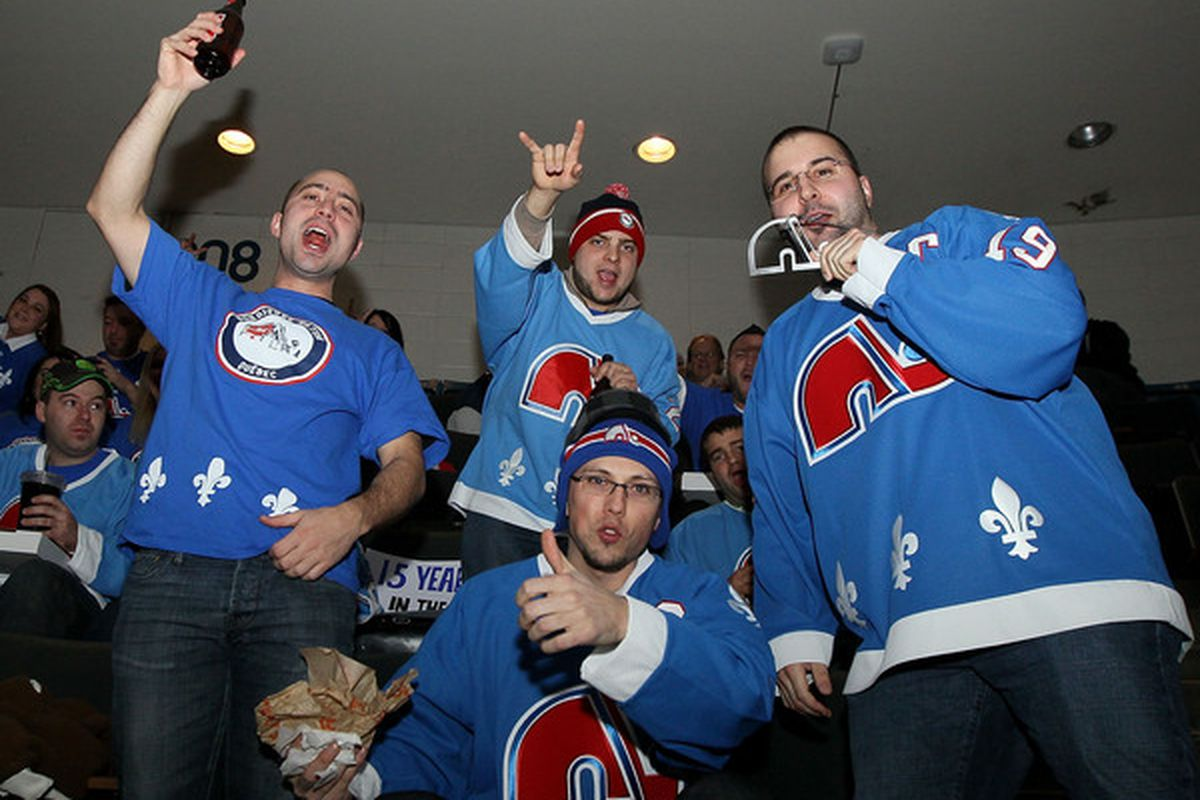 Don't be these guys. Especially the one with the Nordiques blingee necklace. Really don't be that guy.