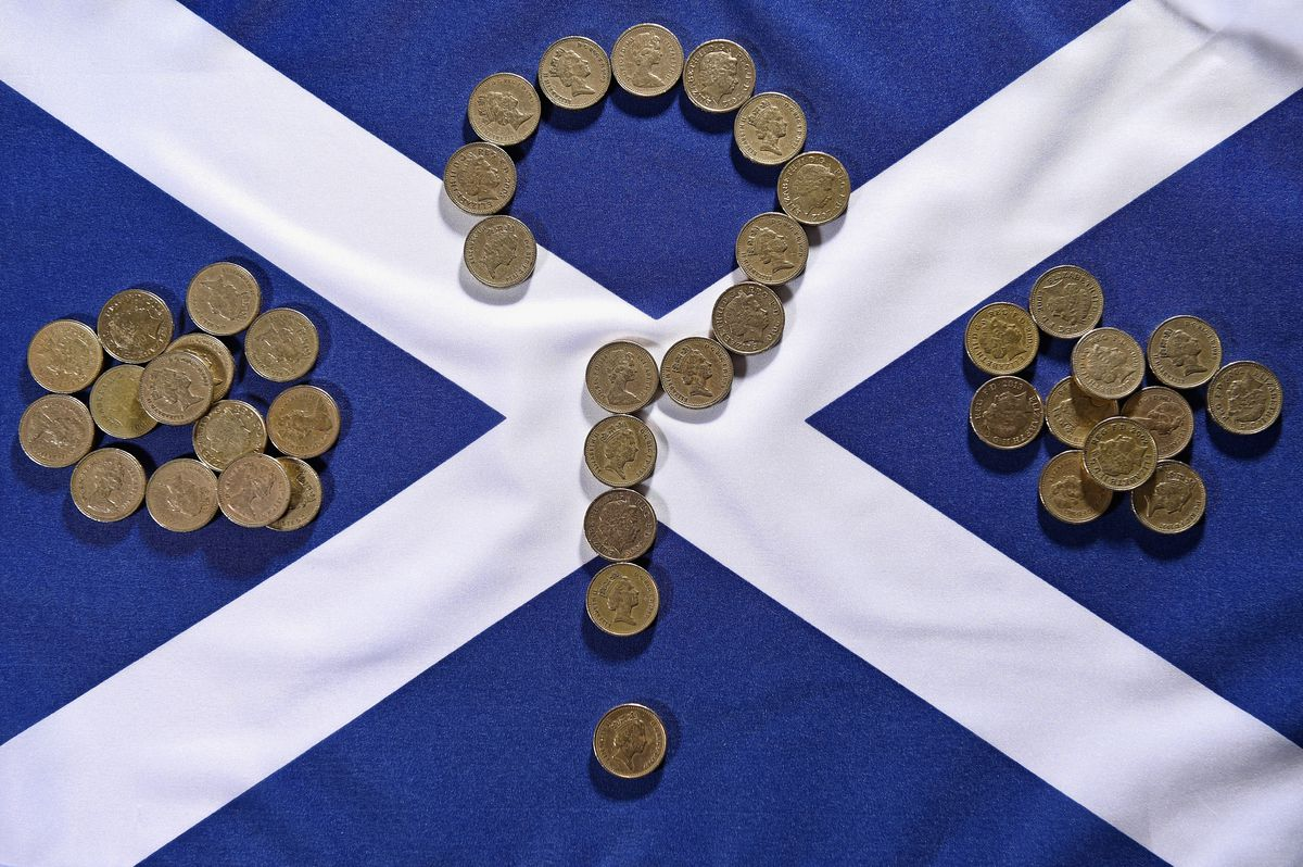 pound coins question mark saltire