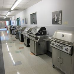 A hallway lined with grills