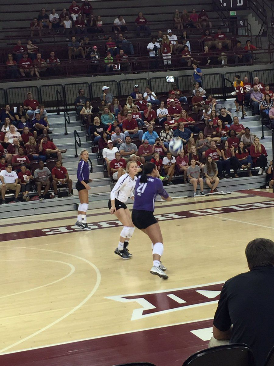 October 15, 2016: Kansas State Wildcats Brooke Sassin (17) and Kersten Kober (1) look on as Devan Fairfield (21) sets up an attack against the Oklahoma Sooners at McCasland Field House in Norman, Okla.