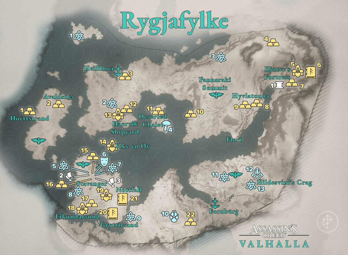 Rygjafylke Wealth, Mysteries, and Artifacts locations map