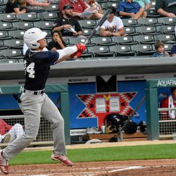IU junior Cooper Trinkle follows through on a big swing. Trinkle finished the All-Star Game with a single and a walk through five plate appearances.