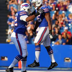 Aug 16, 2013; Orchard Park, NY, USA;  Buffalo Bills outside linebacker Jerry Hughes (55) celebrates a sack with teammate linebacker Arthur Moats (52) during the first quarter against the Minnesota Vikings at Ralph Wilson Stadium.