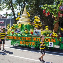 The South Jordan Utah Highland Stake float is pictured during the Days of '47 Union Pacific Railroad Youth Parade held Saturday, July 18, 2015, in Salt Lake City.