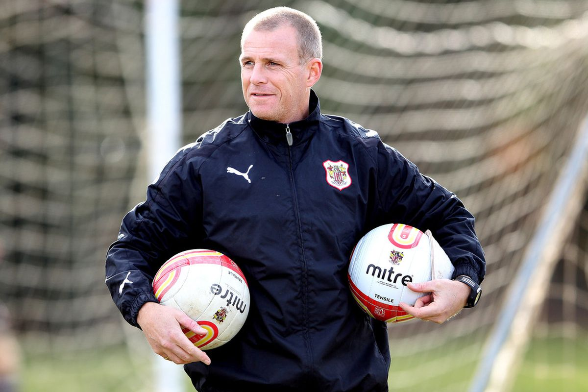 Stevenage manager Gary Smith during a Stevenage training session to preview their FA Cup match with Tottenham Hotspur in Stevenage, England. Tottenham Hotspur play Stevenage in the FA Cup on February 19, 2012. (Photo by Scott Heavey/Getty Images)