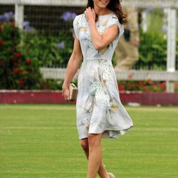 Arriving at the Foundation Polo Challenge on July 9th, 2011 in Santa Barbara, California in a Jenny Packham dress and L.K. Bennett shoes.