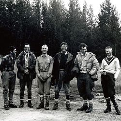 The Jenny Lake rescue rangers moments after completing the rescue of Gaylord Campbell from the North Face of the Grand Teton in August 1967. Left to right, Ted Wilson, Pete Sinclair, Ralph Tingey, Mike Ermarth, Rick Reese, Bob Irvine.