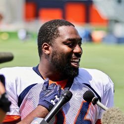 Denver Broncos DE Shelby Harris was all smiles during his chat with the media after practice.