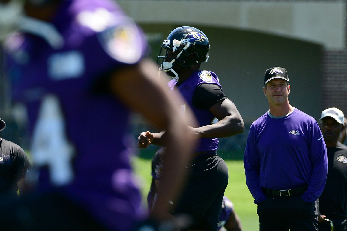 Baltimore Ravens Head Coach John Harbaugh looks on during training camp practice at the Under Armour Performance Center in Owings Mills, MD, July 19, 2018.