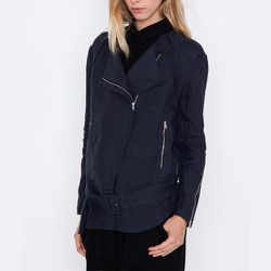 """<strong>Kai-aakmann</strong> Women's Linen Motorcycle Jacket, <a href=""""https://www.shopacrimony.com/products/kai-aakmann-womens-linen-motorcycle-jacket"""">$116</a> (was $192) at Acrimony"""