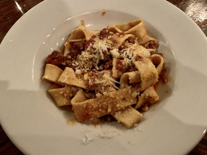 A bowl of pappardelle pasta