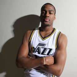 Alec Burks poses for a photo as the Utah Jazz hold their media day Monday, Sept. 29, 2014, in Salt Lake City at the Zions Bank basketball center.