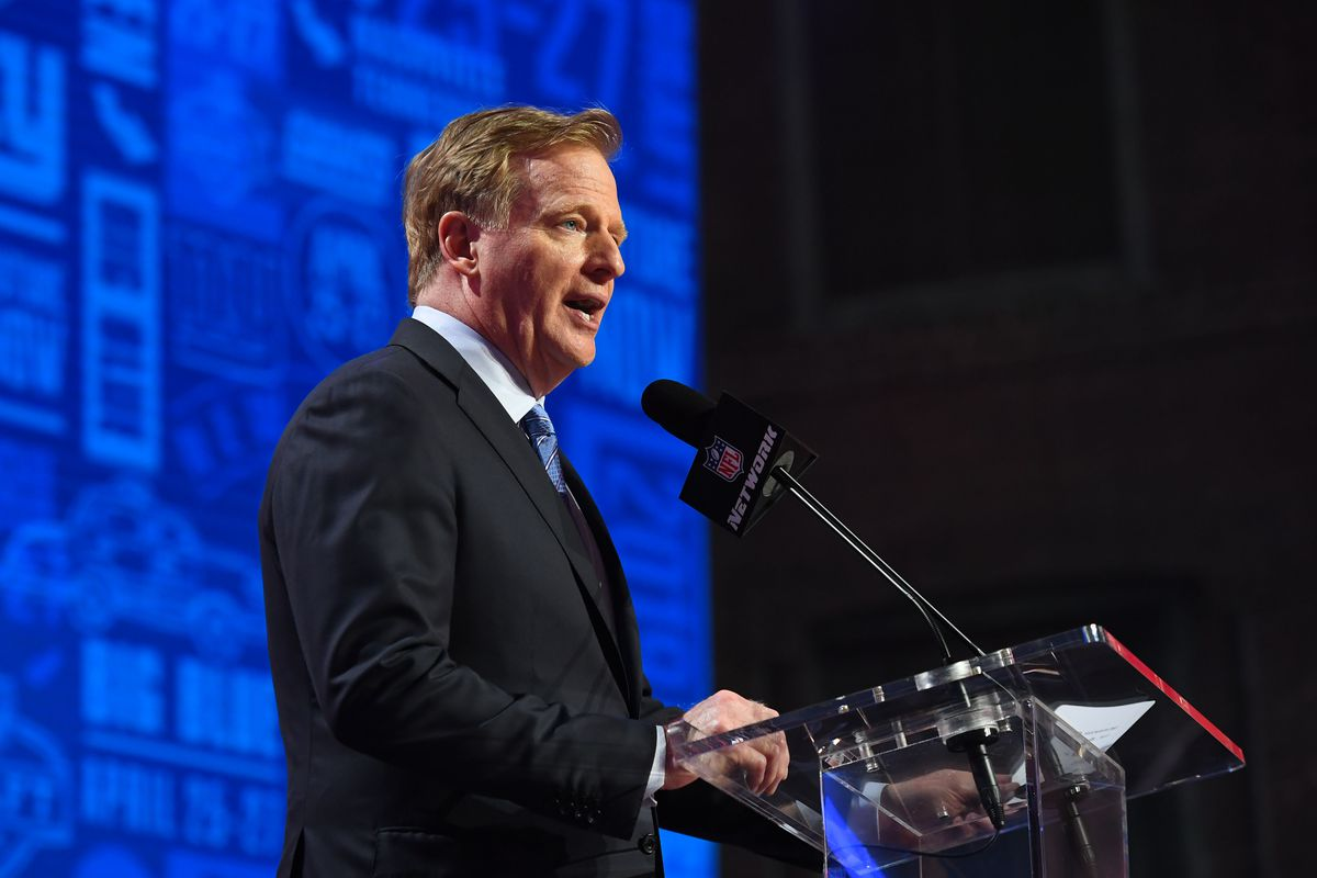 NFL commissioner Roger Goodell in the first round of the 2019 NFL Draft in Downtown Nashville.