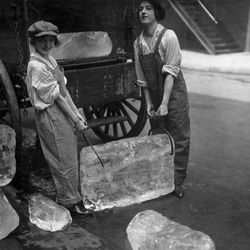 """Young women delivering ice, 1918, from the Smithsonian Traveling exhibition """"The Way We Worked."""""""