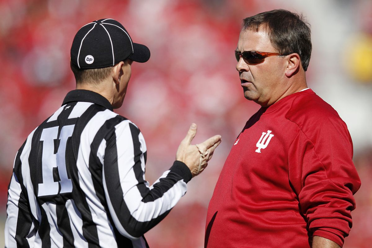 """""""Coach, you're not at Oklahoma anymore.""""  """"....WHAT?!  I'VE MADE A TERRIBLE GODDAMN MISTAKE."""" (Photo by Joe Robbins/Getty Images)"""