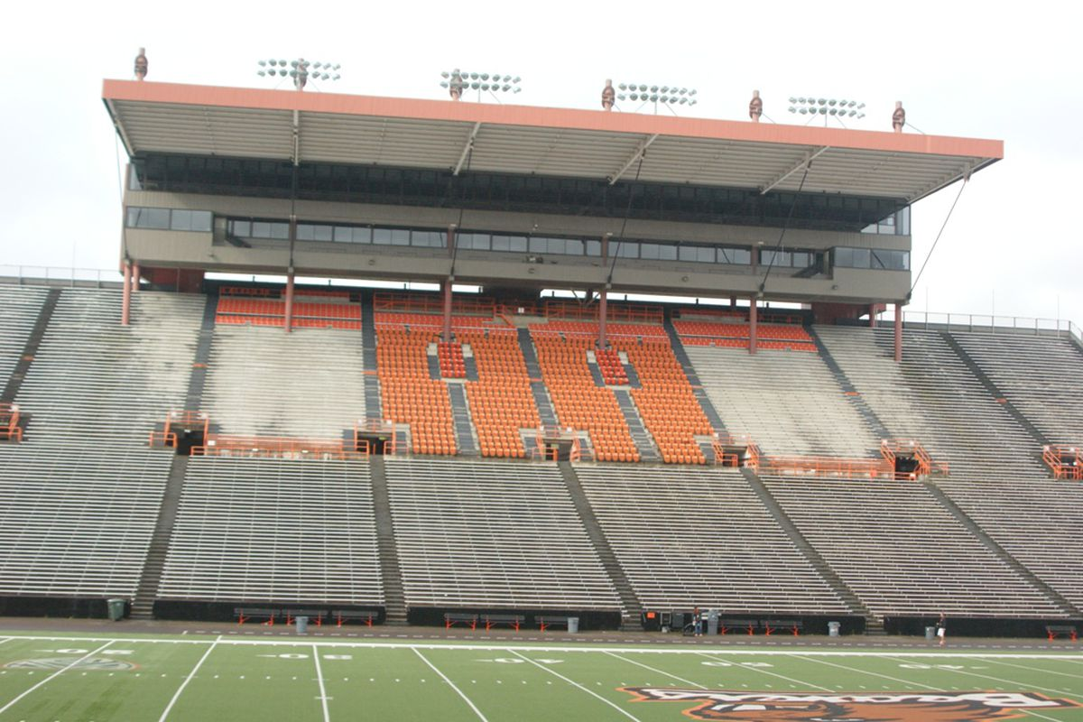 """Oregon St. is beginning the process to identify options for addressing Reser Stadium's """"Old Side"""". <em>(Photo by Andy Wooldridge)</em>"""