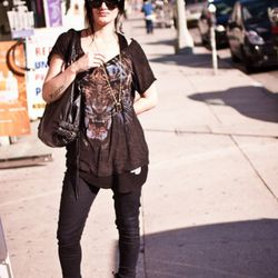 """<a href=""""http://la.racked.com/archives/2011/02/01/camilla_at_vista_and_melrose.php"""" rel=""""nofollow"""">Camilla</a>'s tees, pants, purse and boots are Marc by Marc Jacobs and her sunglasses are Ray-Bans. <br /><br />Photo by <a href=""""http://www.msison.com/"""" re"""