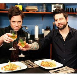 """Rufus Wainwright and Sam Mason, enjoying wine with bay leaves. (<a href=""""http://popwatch.ew.com/2010/04/27/dinner-with-the-band-first-look-rufus-wainwright-joins-sam-mason/"""" rel=""""nofollow"""">Credit</a>)"""