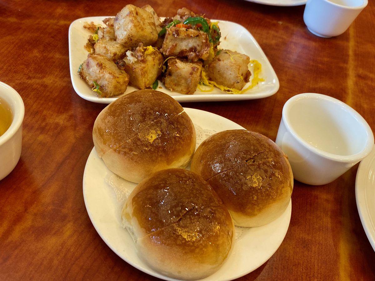 Baked bbq pork buns and turnip cakes with X.O. sauce at Saigon Harbor