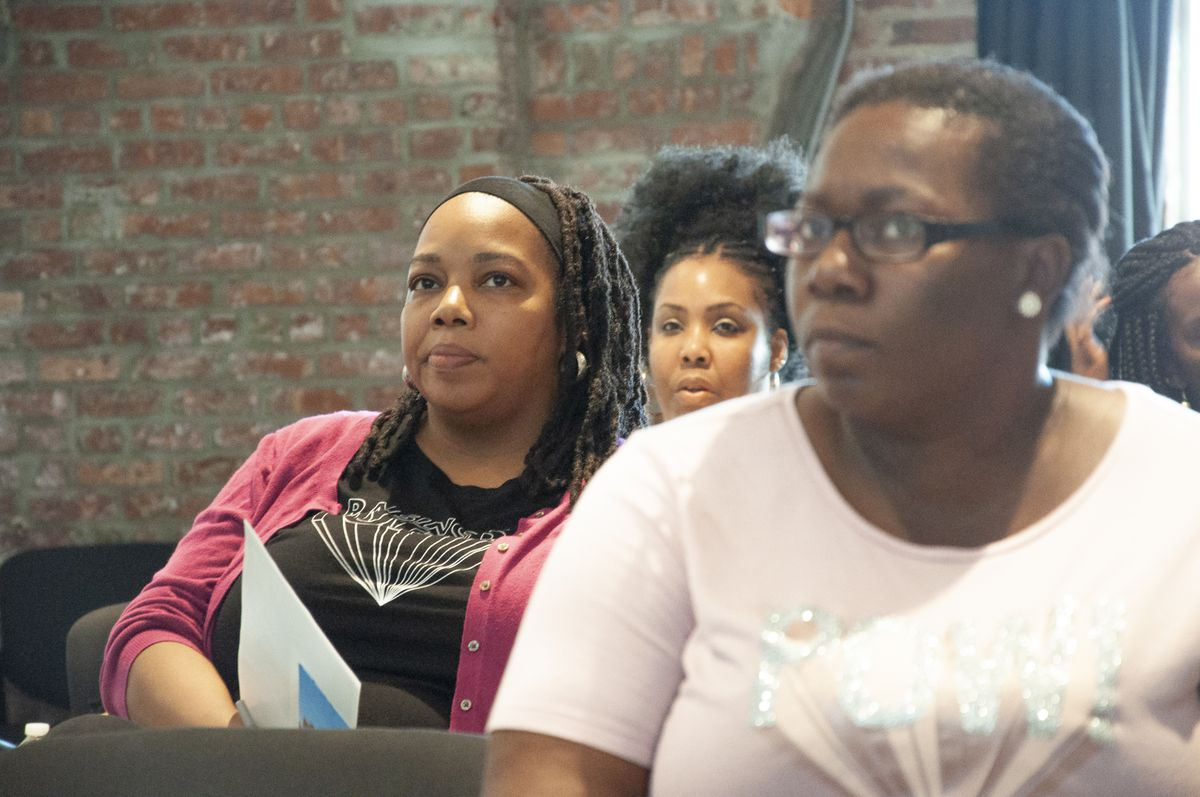 Attendees watch and listen in as parents, advocates, and educators discuss special education in Newark.
