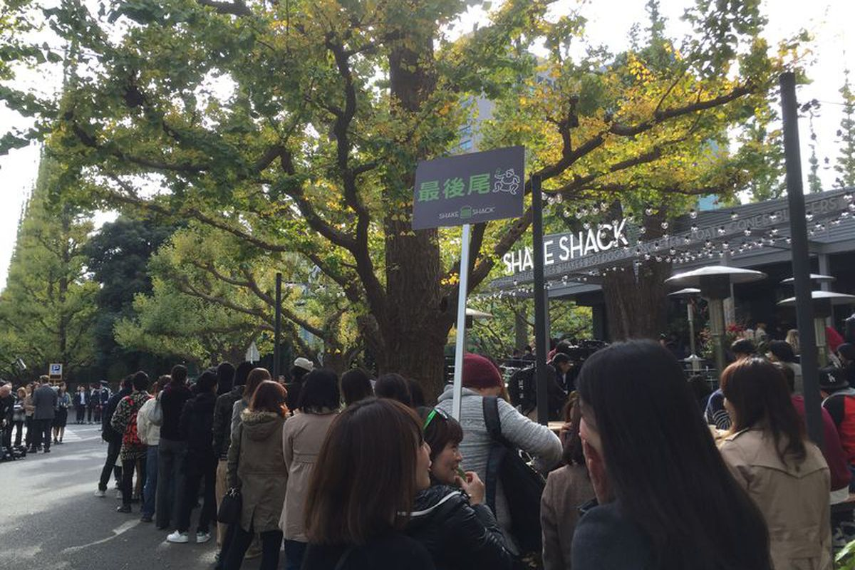 Tokyo's first Shake Shack opened to a very long line.
