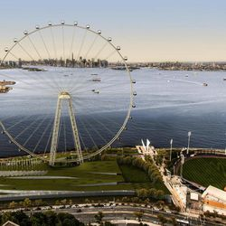 """In this image released by the New York Mayor's Office, Thursday, Sept. 27, 2012 is an artist's rendering of a proposed 625-foot Ferris wheel, billed as the world's largest, planned as part of a retail and hotel complex along the Staten Island waterfront in New York. The attraction, called the New York Wheel, will cost $230 million. Officials say the observation wheel will be higher than the Singapore Flyer, the London Eye, and a """"High Roller"""" wheel planned in Las Vegas. Beyond the wheel is the Manhattan skyline. On the lower right is the Richmond County Bank Ballpark, home of the Staten Island Yankees."""