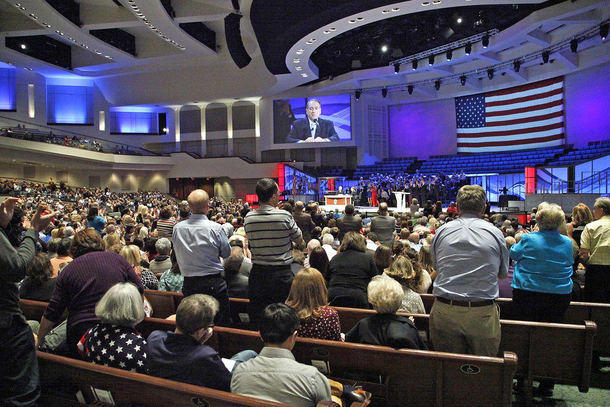 Mike Huckabee speaks at the Prestonwood Baptist Church in Plano, Texas.