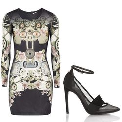 """Digital mirror print ÷ bodycon x ankle strap + mesh = who are we kidding, you're going to a club   <b>Emma Cook</b> Jessie Mini Dress, <a href=""""http://www.net-a-porter.com/product/333913"""">$550</a> at Net-A-Porter + <b>Alexander Wang</b> Sabine in black <a"""